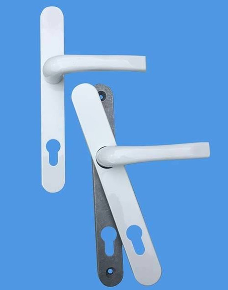 Door Handles with Concealed Screws – 92mm Centre, 122mm Screws in White
