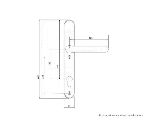Door Handles with Concealed Screws – 92mm Centre, 122mm Screws in Gold