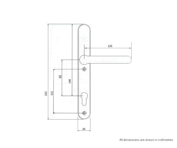 Door Handles with Concealed Screws – 92mm Centre, 122mm Screws in Black