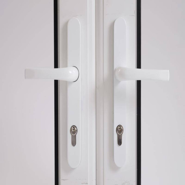 Door Handles with Concealed Screws – 92mm Centre, 211mm Screws in White