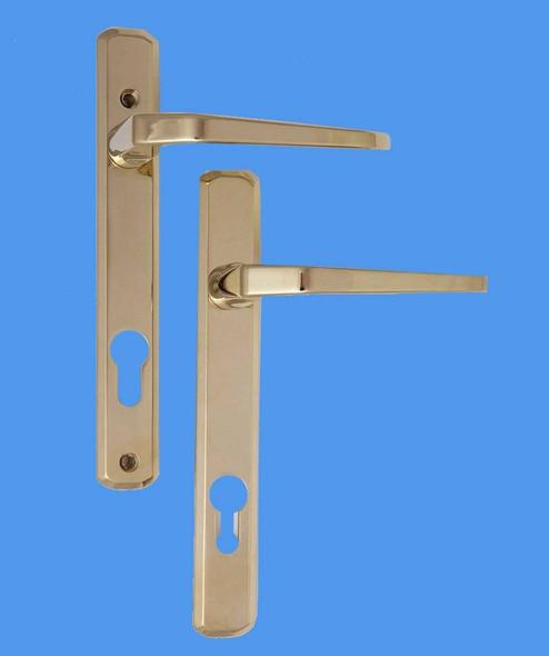 Avocet UPVC Door Handles, 92mm centres, 165mm screws, Lever/Lever in Gold