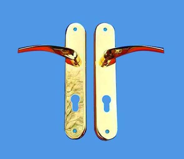 UPVC Door Handles, 85mm centres, 215mm screws, Lever/Lever in Gold