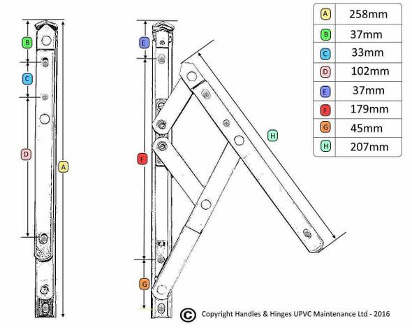 Bulk Purchase Box of UPVC Window Hinges - 10 UNIVERSAL Top Hung - 25 pair