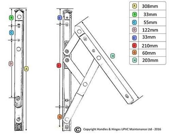 Bulk Purchase Box of 12 Top Hung UNIVERSAL Window Hinges - 25 Pair