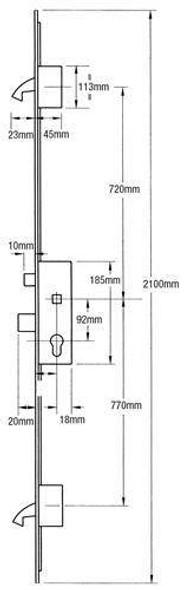 Winkhaus AV2 Multipoint, 2 Hooks, Automatic Locking, Flat 20mm Faceplate, 45mm Backset
