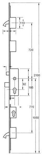 Winkhaus EGFA Multipoint, 2 Hooks, Entryguard and Lockout Facility, Flat 20mm Faceplate ,55mm backset