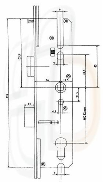 Maco Multipoint, 4 Rollers, Lift Lever L/L, 45mm Backset