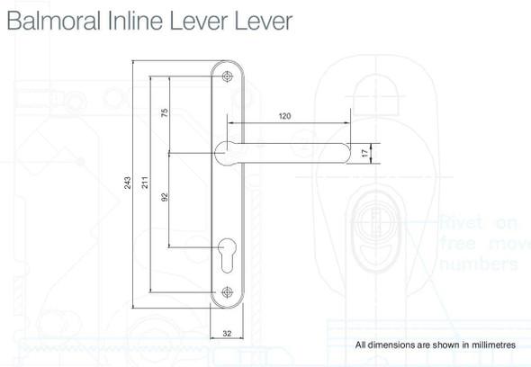 Balmoral UPVC Door Handles, 92mm centre, 211mm screws, Lever/Lever in Hardex Chrome