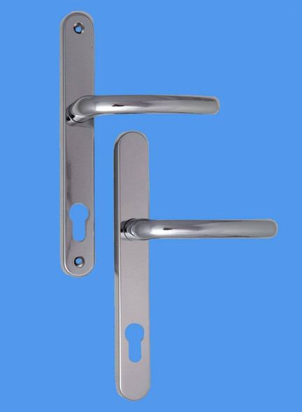 Balmoral UPVC Door Handles, 92mm centre, 211mm screws, Lever/Lever in Hardex Chrome
