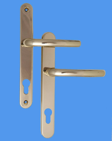 Balmoral UPVC Door Handles, 92mm centre, 211mm screws, Lever/Lever in Hardex Gold