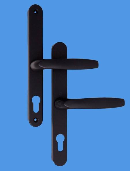 68mm UPVC Door Handles to suit Fullex system, 68mm centre, 215 screws, Lever/Lever in Black