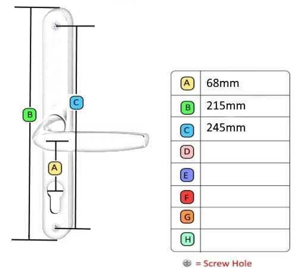 68mm UPVC Door Handles to suit Fullex system, 68mm centre, 215 screws, Lever/Lever in Anodised Gold
