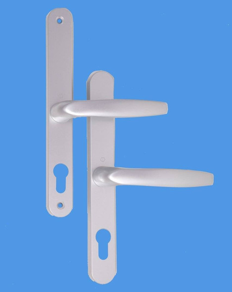 68mm UPVC Door Handles to suit Fullex system, 68mm centre, 215 screws, Lever/Lever in Anodised Silver