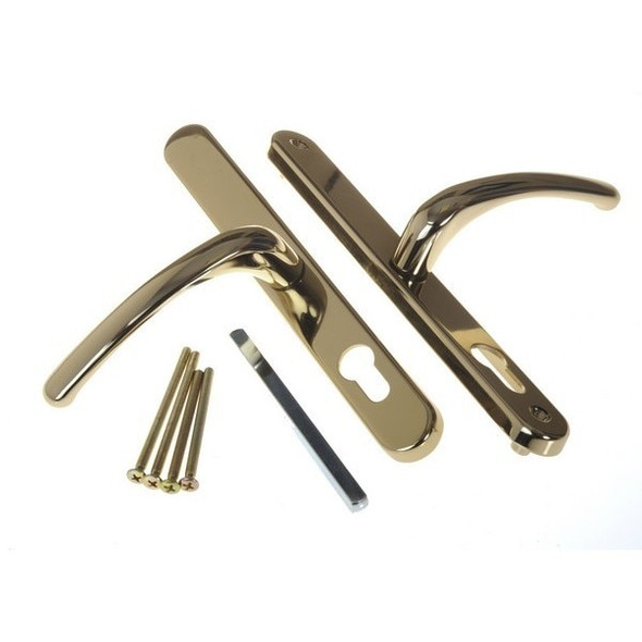 68mm UPVC Door Handles to suit Fullex system, 68mm centre, 215mm screws, Lever/Lever in Hardex Gold Fab and Fix