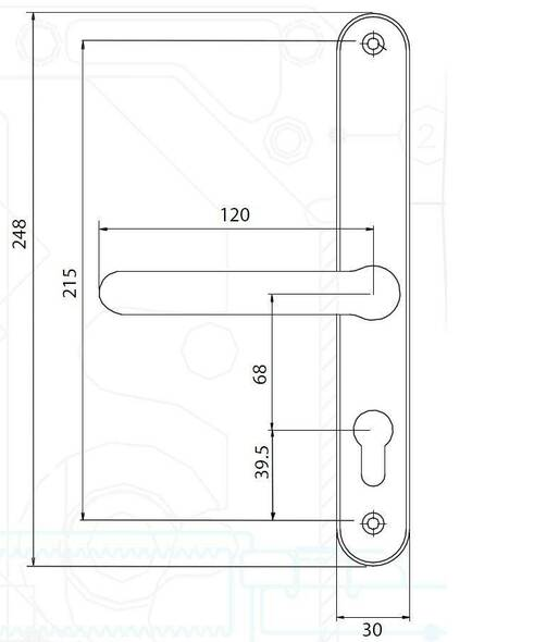 68mm UPVC Door Handles to suit Fullex system, 68mm centre, 215mm screws, Lever/Lever in Hardex Satin Silver Fab and Fix