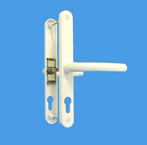 68mm UPVC Door Handles to suit Fullex system, 68mm centre, 215mm screws, Lever/Lever in White Fab and Fix