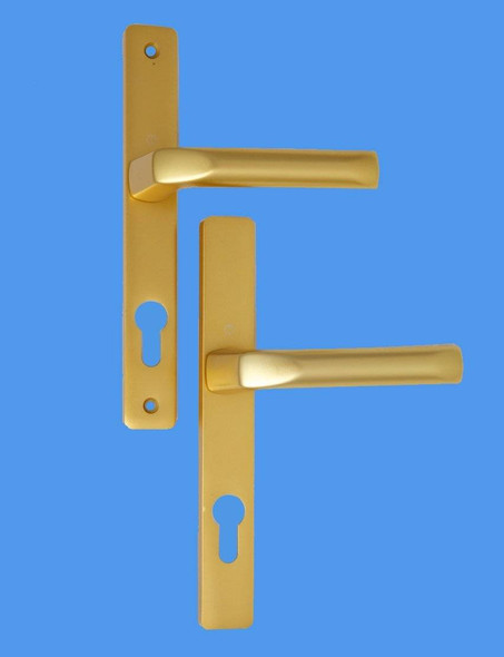 70mm UPVC Door Handles to suit Ferco system, 70mm centre, 215mm screws, Lever/Lever in Anodised Gold