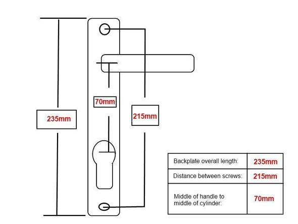70mm UPVC Door Handles to suit Ferco system, 70mm centre, 215mm screws, Lever/Lever in Anodised Silver