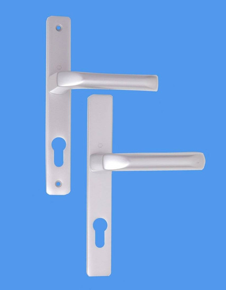 70mm UPVC Door Handles to suit Ferco system, 70mm centre, 180mm screws, Lever/Lever in Anodised Silver