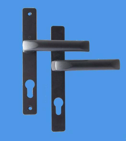 70mm UPVC Door Handles to suit Ferco system, 70mm centre, 180mm screws, Lever/Lever in Black