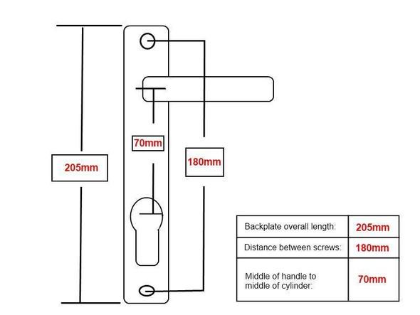 70mm UPVC Door Handles to suit Ferco system, 70mm centre, 180mm screws, Lever/Lever in Black