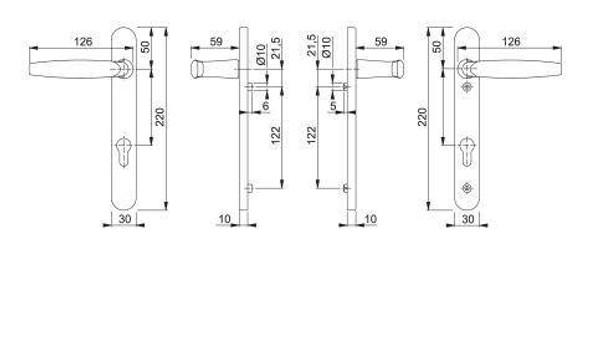 Atlanta UPVC Door Handles, 92mm centre, 122mm screws, Lever/Lever in Bright Chrome