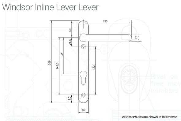 Windsor UPVC Door Handles, 92mm centre, 122mm screws, Lever/Lever, in Hardex Satin Silver