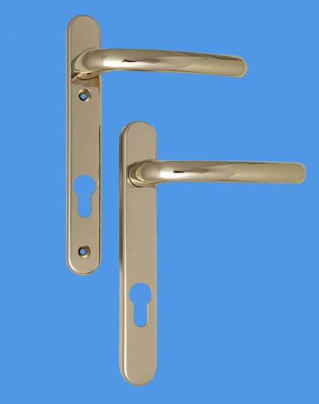 Windsor UPVC Door Handles, 92mm centre, 122mm screws, Lever/Lever, in Hardex Gold