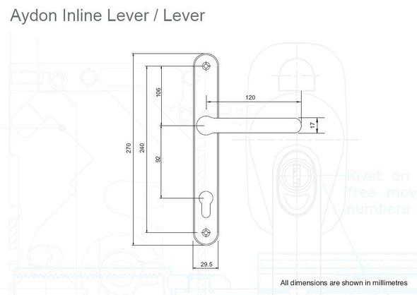 Blenheim Aydon UPVC Door Handles, 92mm centre, 243mm screws, Lever/Lever in White