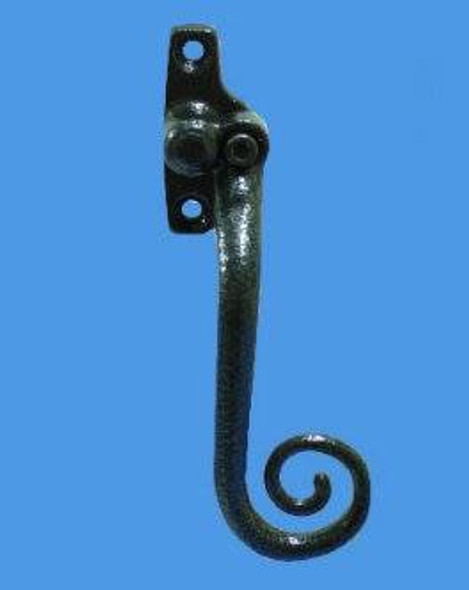 Monkey Tail Espag Window Handles in Antique Black