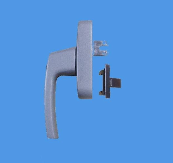 Locking Window Handle With Interchangeable Blade or Fork in Satin Silver