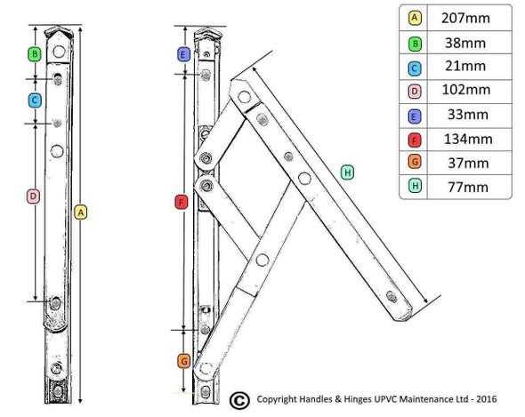 UPVC Window Hinges - 8 UNIVERSAL Top Hung