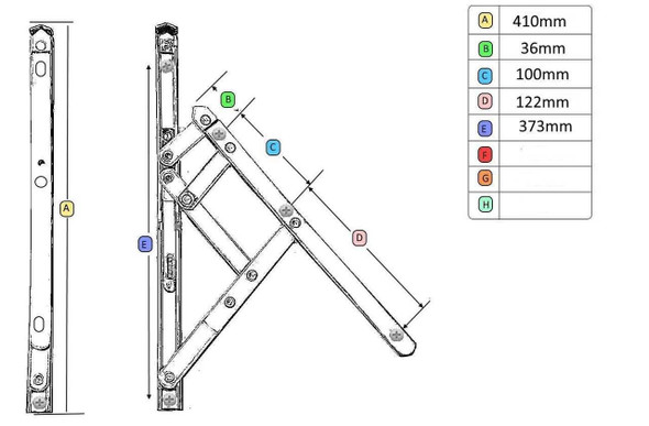 UPVC Window Hinges with Restrictor- 16 UNIVERSAL Top Hung