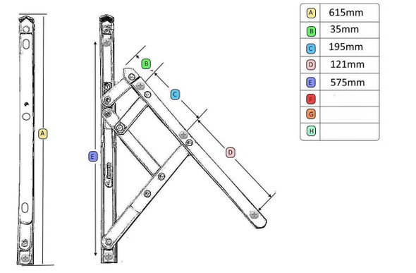 UPVC Window Hinges with Restrictor- 24 UNIVERSAL Top Hung