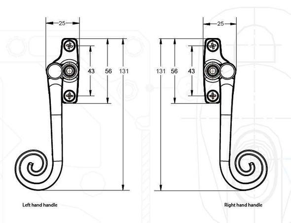 Monkey Tail Espag Window Handles in Hardex Graphite