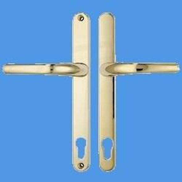 Millenco UPVC Door Handles, 95mm Centres, 200mm Screws, Lever/Lever, in Gold
