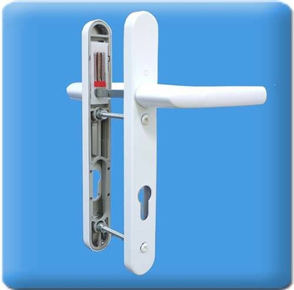 UPVC Door Handles, 92mm Centres, 122mm Screws, Lever/Lever in White - Birmingham Handles, Short Screw Centres
