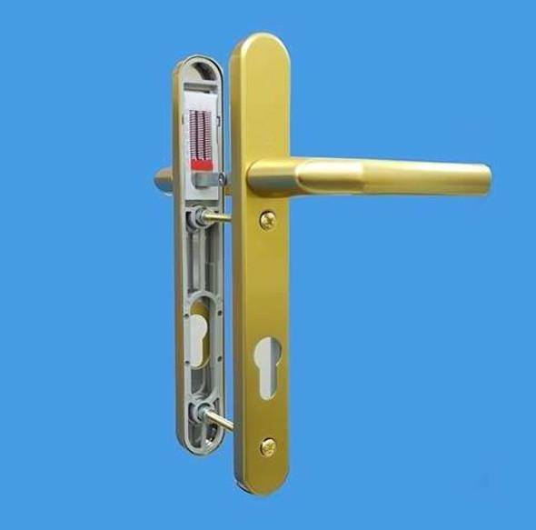 UPVC Door Handles, 92mm Centres, 122mm Screws, Lever/Lever in Anodised Gold - Birmingham Handles, Short Screw Centres