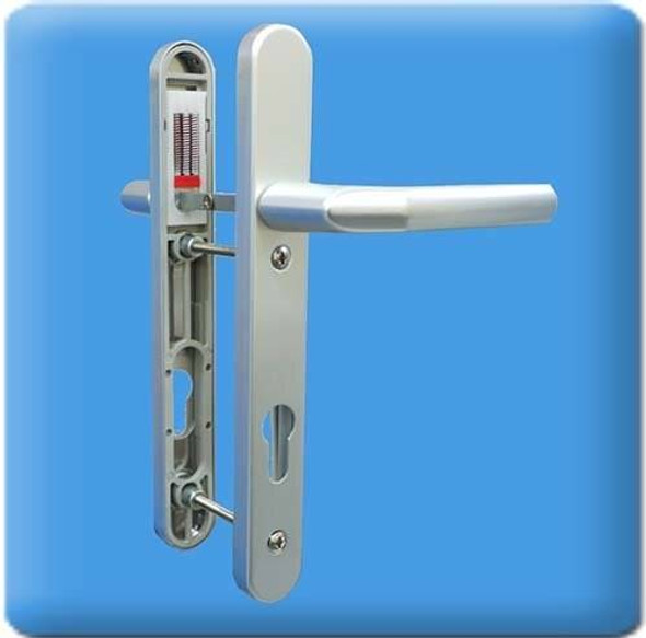 UPVC Door Handles, 92mm Centres, 122mm Screws, Lever/Lever in Anodised Silver - Birmingham Handles, Short Screw Centres