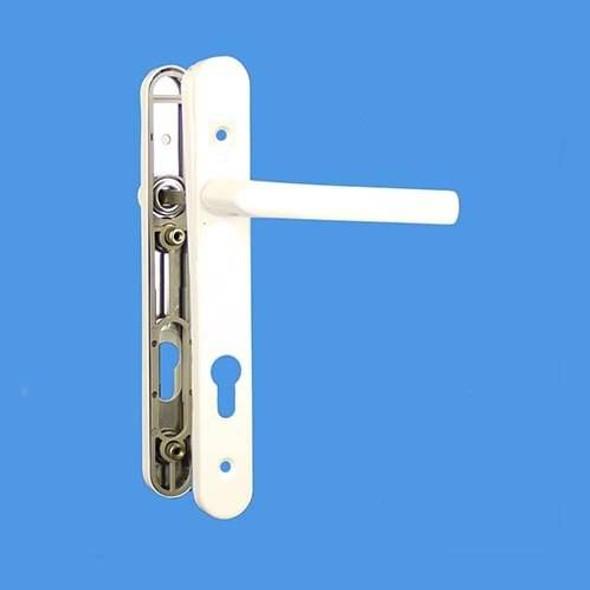 UPVC Door Handles, 92mm Centres, 215mm Screws, Lever/Lever in White - Birmingham Handles, Long Screw Centres