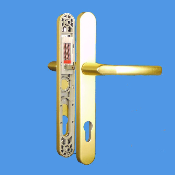 UPVC Door Handles, 92mm Centres, 215mm Screws, Lever/Lever in Anodised Gold - Birmingham Handles, Long Screw Centres