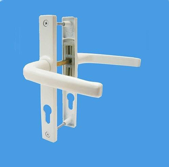 70mm UPVC Door Handles by Schlosser, 70mm pz , 180mm screws, Lever/Lever in White, to suit Ferco system