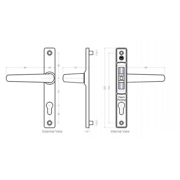 70mm UPVC Door Handles by Schlosser, 70mm pz , 180mm screws, Lever/Lever in White, to suit Ferco system