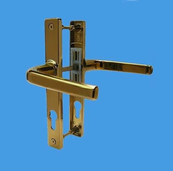 70mm UPVC Door Handles by Schlosser, 70mm centre, 180mm screws, Lever/Lever in Gold, to suit Ferco system