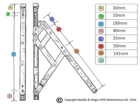 10 Top Hung UPVC Window Hinges, Slimline Defender