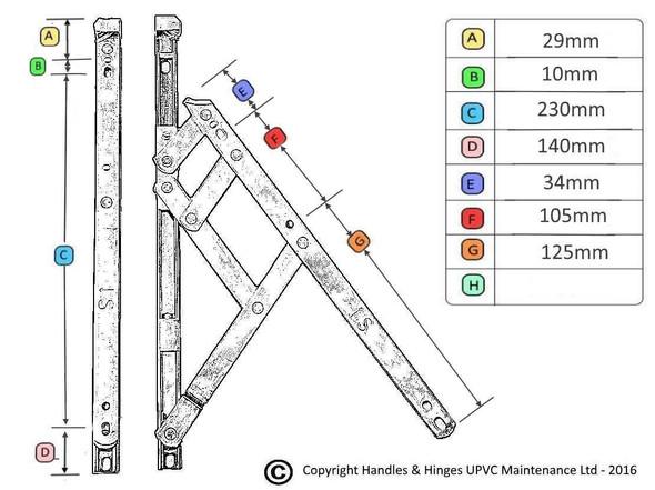 12 Top Hung UPVC Window Hinges, Slimline Defender