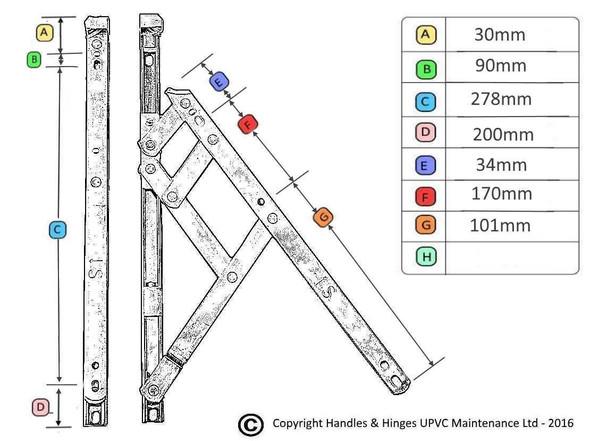 16 Top Hung UPVC Window Hinges, Slimline Defender