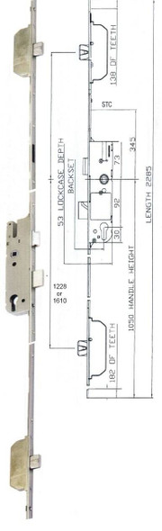 GU Europa, 3 Deadbolt, 92mm Centred Door Locking Mechanism