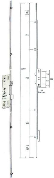 Lockmaster 4 Roller, Dual Spindle, Multipoint Door Lock Mechanism