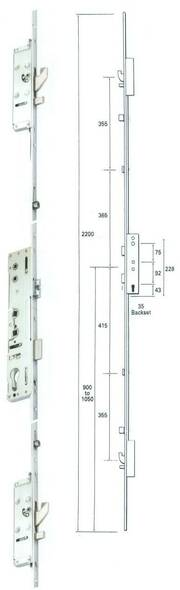 Lockmaster Latch, Deadbolt, 2 Hooks, 2 Rollers Multipoint Door Lock Mechanism